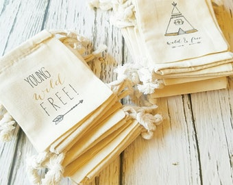 WILD and FREE -  Personalized Favor Bags - Set of 10 - Birthday - teepee - arrows - wild one
