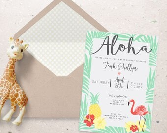 ALOHA BABY SHOWER Tropical Printable Party Invitations - I design - You print - Pineapple - flamingo - matching favor bags available
