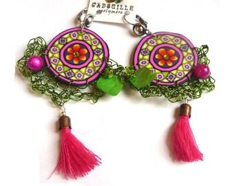 Boucles d'oreilles esprit gipsy en fuchsia et vert