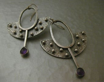 Artisan Amethyst Sterling Silver Hammered Earrings by Strawberry Frog
