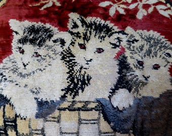 Vintage Velvet Cats Pillow 1920's Velvet Chenille 3 Kittens in a Basket Scene Black Red Grey Tan Blue 16 x 16 inch Square Home Decor Pillow