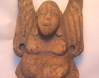 An Old Hoti Laughing Buddha Wood Carving Z7