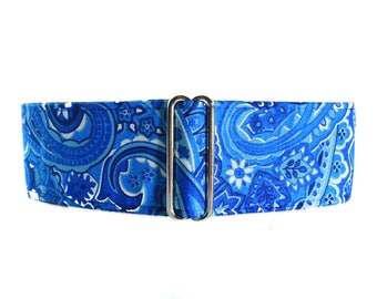 Blue Martingale Collar, 2 Inch Martingale Collar, Paisley Martingale Collar, Paisley Dog Collar, Blue Dog Collar, Blue Paisley