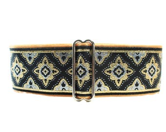 2 inch Martingale Collar, Gold Martingale Collar, Black and Gold Jacquard, Greyhound Collar, Gold Dog Collar, Wide Dog Collar