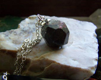 Natural Almandine Garnet Gemstone Wire Wrapped Pendant