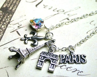 ON SALE The Paris Charm Necklace - A Tour Of Paris - Arc de Triomphe and the Eiffel Tower Necklace with Swarovski Crystal and Sterling Silve