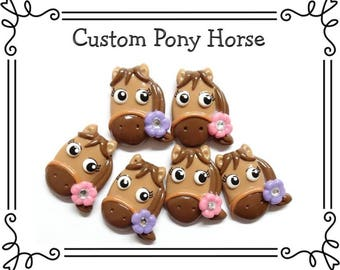 Custom Cold Porcelain Clay Pony Horse Bow Center, Pony Pendant Charm, Ornament, Purse Charm, Brooch, Magnet, Necklace /DIY Cowgirl Jewelry