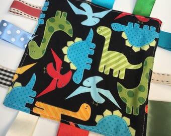 Tagged Sensory Blanket mini size 7 x 7 dinosaurs