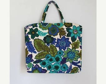 AWAY SALE 20% off vintage margaret smith handbag - BLUE Bloom floral tote bag