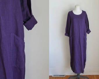 vintage 1990s dress - EGG PLANT linen sack dress / S-M