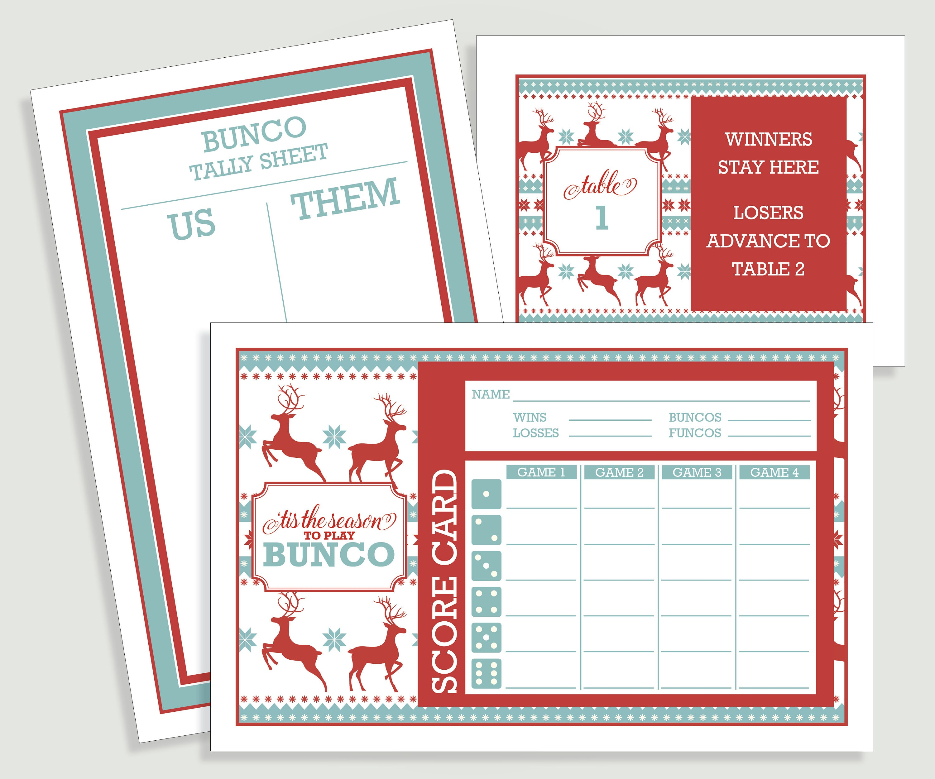 Christmas Bunco Score Card Set Ugly Sweater 'Tis the