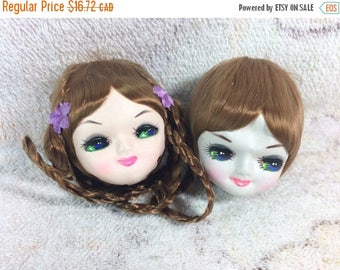SUMMER SALE Vintage Pose Doll Heads for Crafting Korea Bradley Dolls Doll Parts Cute Fabric