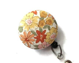 Floral Retractable Badge Holder Badge Reel Name Badge Holder ID Badge Holder Nurse Badge Reel Key Card Holder Badge Clip Cream Yellow Pink