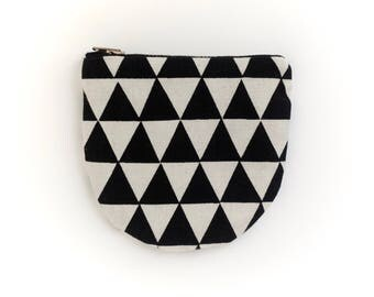 Small Round Pouch - Geometric Modern Zip Wallet