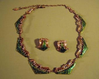 Vintage 1950s Matisse Renoir Green Enamel Venezia Link Necklace Earrings Set 9316