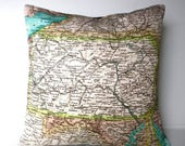 SALE SALE SALE Pillow cover throw cushion cushion cover Pennsylvania map cushion cover, organic cotton, pillow 16x16