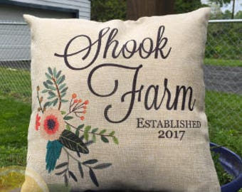 Country Floral Monogramed Pillow ~ Personalized, Floral, Teal, Flowers, Initial, Home Decor, Throw Pillow