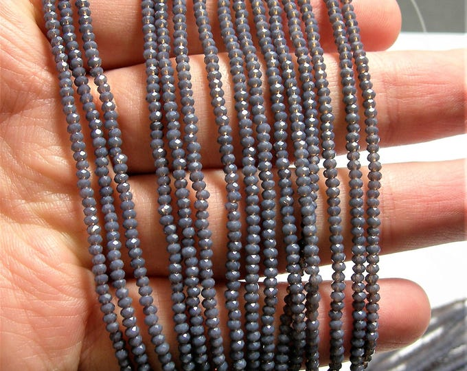 Crystal - rondelle  faceted 1mm x  2mm beads - 197 beads - translucent purple prune - full strand - VSC32