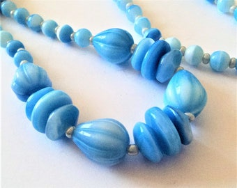 Blue Glass Bead Necklace... Czech Glass