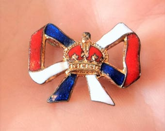 Tiny Enamel Cornonation Badge... Red White and Blue... Crown & Bow... c.1930s... Edward VIII or George VI