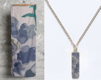 Easter gift , Matching set , Scarf and silver plated short pendant ,Gift for her, Jewelery gift ,Floral design  , Long modal scarf