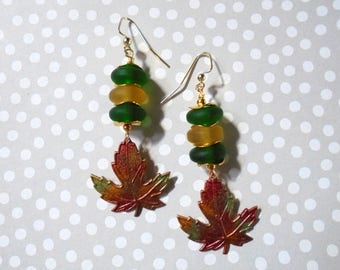 Green, Gold, Orange and Red Autumn Leaf Earrings (3656)