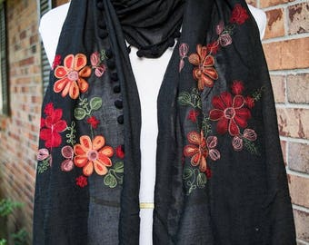 Embroidered Floral Scarf - Black - Fall Winter 2017 Scarf - Embroidered Paisley Scarf - SALE - Ships Immediately