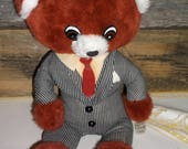 """Vintage 1978 Talking Executive Teddy Bear by Commonwealth Toy Company Works """"There is Nothing You Can't Do!"""""""
