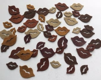 Wool Felt Lips 50 total Die Cuts - Shades of Browns and nudes 4029*stock photo - Crochet Doll Lips - Dolls Lips