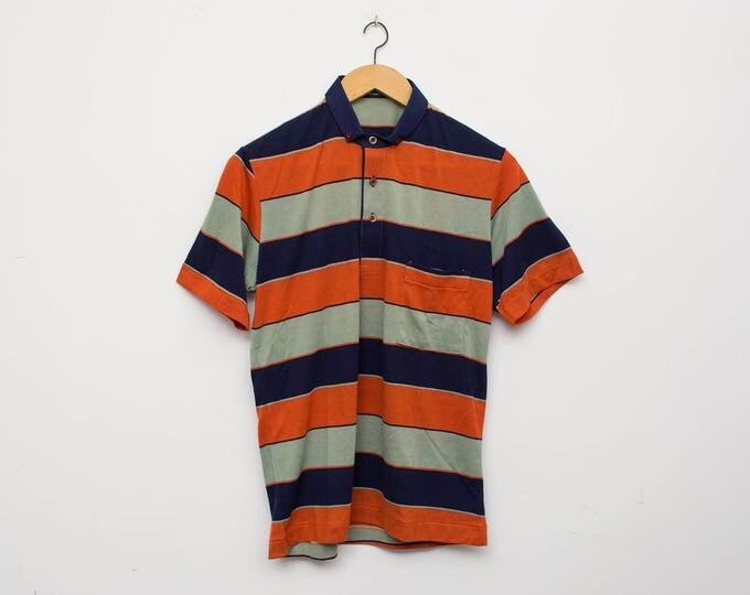 NOS vintage 80s polo shirt striped