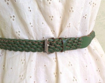 1970s green braided leather belt