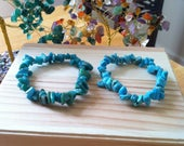 """Buy One Get One Free Sale -Russian Green Amazonite & Howlite Turquoise Gemstone Chip Stretch 7"""" Bracelets, Healing, Protection, Meditation"""