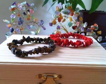 "Buy One Get One Free Sale Red Coral & Tigers Eye Gemstone Chip Stretch 7"" Bracelets, Healing, Protection, Meditation, Love Balance Bracelet"