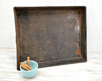 Old Rustic Baking Pan - primitive storage tray - Large