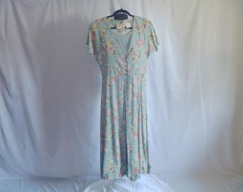Vintage 80's Fitted Floral Maxi Dress without Sleeves by Erika® Size Small