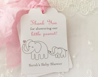 Pink Elephant Baby Shower Tags Favor Gift Tags Personalized Set of 10