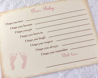 Wishes for Baby Cards Pink Footprints Dear Baby Shower Activity Set of 10