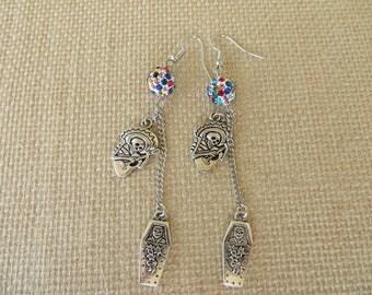 Rhinestone Bead and Silver Toned Charm Dangling Dia de los Muertos Earrings