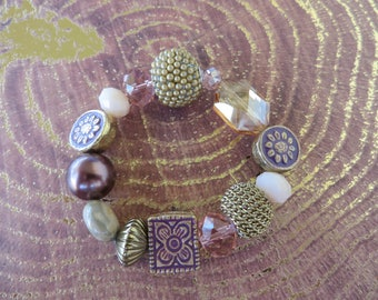 Stretch Chunky Beaded Bracelet In Mauve Pink And Metallic Tones