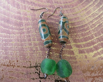 Dangling Green Carved Agate And Green Ghana Recycled Glass Bead Earrings