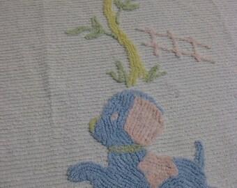 Vintage Chenille Puppy Bedspread, Baby Crib Size