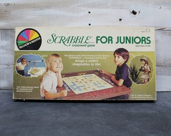1982 Selchow & Righter Scrabble for Juniors Edition Five, Crossword Game, Board Game