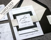 "Silver and White Marble, Black Marble Wedding, Glitter and Marble Wedding Invitations, Wedding Invitation - ""Modern Elegance"" FP-NL SAMPLE"