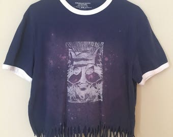 Wolf Print, linoleum block, hand printed, Soft V Neck, Mens, Large