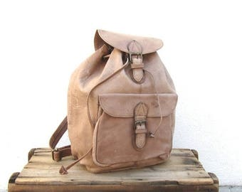 SALE Leather Rucksack Backpack Large Light Brown 80s Daypack