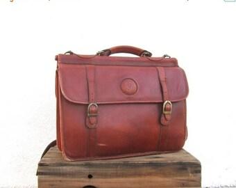 SALE Briefcase Satchel Cognac Leather Large Work Laptop Bag