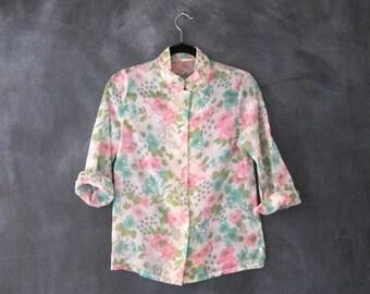 SALE Blouse Pastel Sheer Floral Mandarin Collar Cotton Blend Hippie Boho Top Ladies Size S
