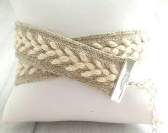 Woven Wrap Bracelet - braided double oatmeal tan beige cream white sweater soft - silver adjustable clasp friendship best friend gift