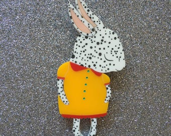 Shy Bunny Handmade Laser Cut Perspex Brooch - Dalmatian Spot