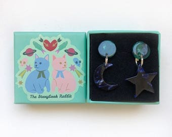 Small Marbled Dangle Stud Earrings - Marbled Star and Moon earrings Navy and Green